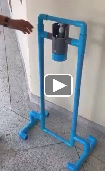 Foot operated hand santiser dispenser video link